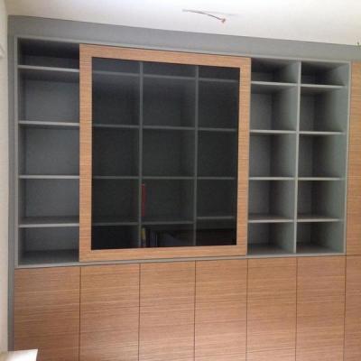Büro Schrank in Silber mit Zebrano Funier. Mit Schiebetüre Köln- Neuss Möbelbau nach Maß